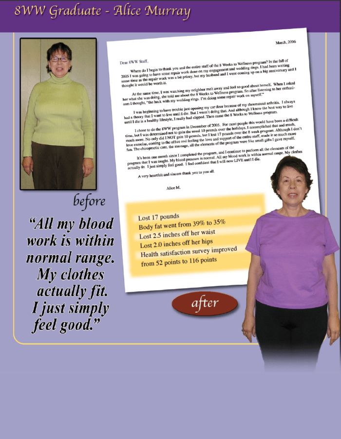 8 weeks to wellness testimonials Alice.